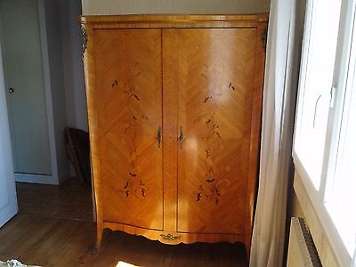 French antique vintage Louis xv inlaid marquetry wardrobe