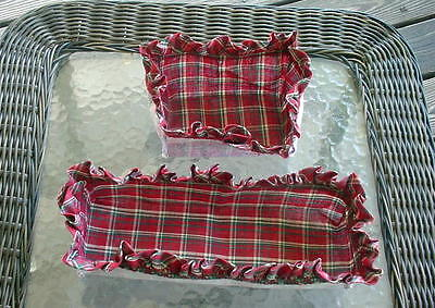 Two Red Plaid Basket Liners.  Both Unused.