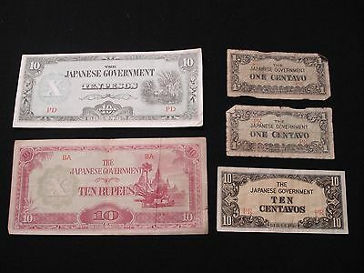 The Japanese Government 10 Pesos, 10 Rupees, 10 & 1 Centavo Currency Banknotes
