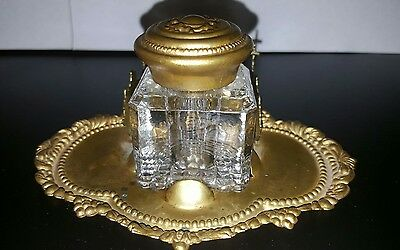 ANTIQUE Vintage Brass INKWELL with Pen Holder - Rare!