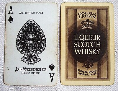 VERY RARE 1950s GOLDEN CROWN LIQUEUR SCOTCH WHISKY PLAYING CARDS, MELROSE-DROVER