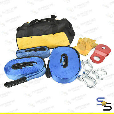 4WD Recovery Kit Snatch Straps Bow Shackles Pulley Block Winch 10PCS Bag High Qu