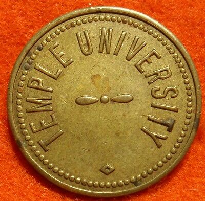 VINTAGE TEMPLE UNIVERSITY PARKING TOKEN PHILADELPHIA PA 22mm BRASS