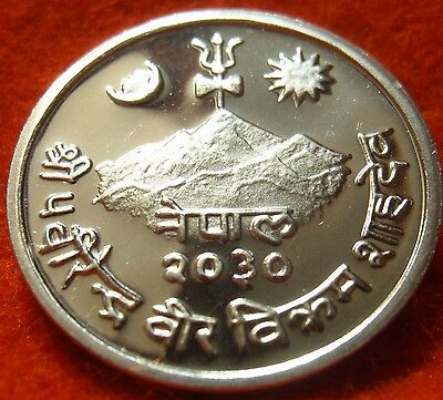 Nepal Birendra Bir Bikram 1973 Frosted Proof 5 Paisa Scarce only 8,891 minted!!