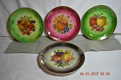 Four Mitterteich Germany Bavaria Porcelain  Fruit Plated with Gold Trim