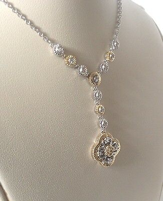 Beautiful Necklace Sterling Silver and 14k Yellow Gold with Diamonds