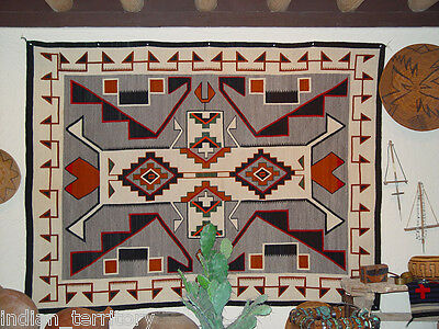 "FINEST Antique c1920 TEEC NOS POS Navajo rug  80"" x 60""    Best of Class ""10"""