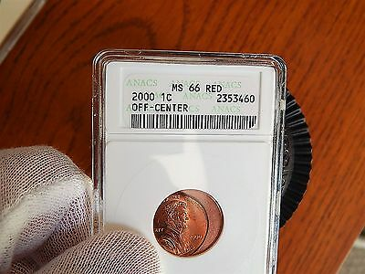 Errors 2000-P Anacs OFF CENTER MS-66/ Lincoln Cent-1c  nice !! see pics.