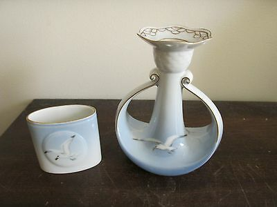 B & G Bing Grondahl Porcelain Denmark Seagull Toothpick And Candle Holder Set