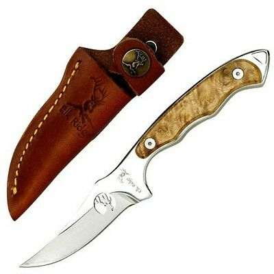 "Elk Ridge 059 Fixed 7"" Knife Burl Wood Handle & Sheath"