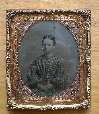 AMBROTYPE Of Young Girl Teenager In Checked Dress, 1860s Sixth Plate No Case