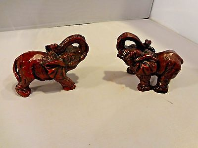 "Pair of Small Elephants with their Trunks Up - 2"" High x 3"" Long - Figurine"