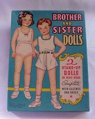 ⭐ Brother and Sister Paper Dolls w/ Box No. 4105 Sue & Sandy Whitman