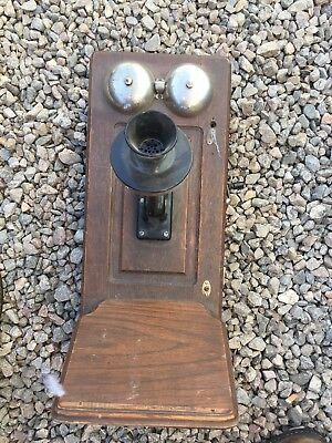 Antique Wood Hand Crank Wall Telephone Western Electric USA c. 1908  Rotary Dial