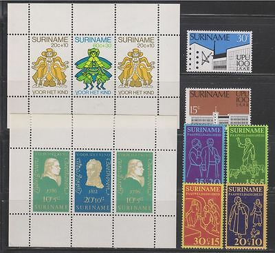 Suriname Small Collection of 17 Stamps + 2 Mini Sheets MNH