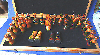Vintage Russian Figural Chess Set Hand Painted Carved Wood Asian Kyrgyzstan