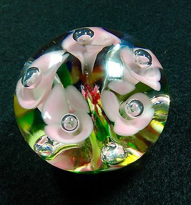 Vintage Maude and Bob St. Clair 1972 Art Glass Paperweight Pink Trumpet Flowers