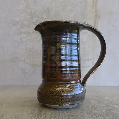 Australian Studio Pottery Jug 500mls JG potters mark Olive Green Handcrafted