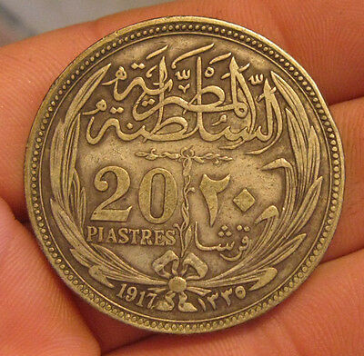 Egypt - 1917 Large Silver 20 Piastres - Scarce Date