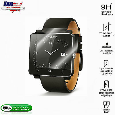 2X Tempered Glass Screen Protector Film For Sony Smart watch 2 / SW 2