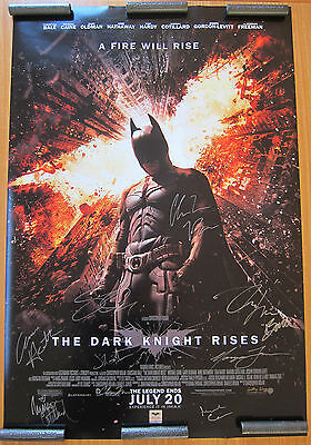 The Dark Knight Rises original DS cast signed movie poster batman