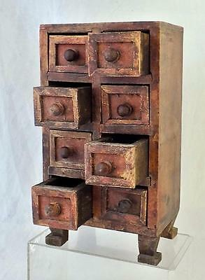 Vintage Hand Made 8 Drawer Apothecary Chest Herb Box Wicca Witchcraft Spell Box