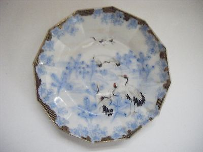 Japanese Antique Blue & White 12-Sided Egg Shell Shallow Dish with Cranes