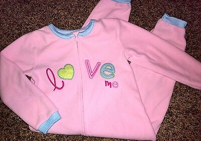 Carter's Girl Clothing Size 3T Fleece Pink LOVE ME Pajamas Sleepwear One Piece