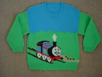 """1980s HAND KNITTED """"THOMAS THE TANK ENGINE"""" JUMPER - Suit 3-4 Years"""