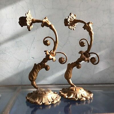 Pair of giltwood & gesso wall candlesticks, 19th century