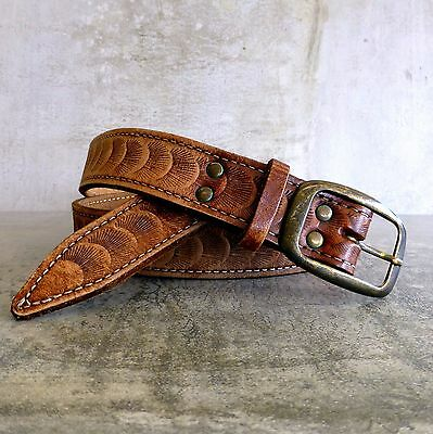 Vintage Hand Tooled Leather Belt Tan Unisex 92cm-107cm Waist  Fan Shell Pattern