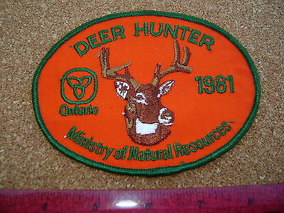 1981 ONTARIO MNR DEER HUNTING PATCH badge,flash,crest,moose,bear,elk,Canadian