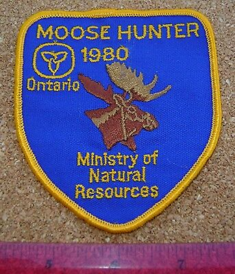 1980 ONTARIO MNR MOOSE HUNTING PATCH badge,flash,crest,deer,bear,elk,Canadian