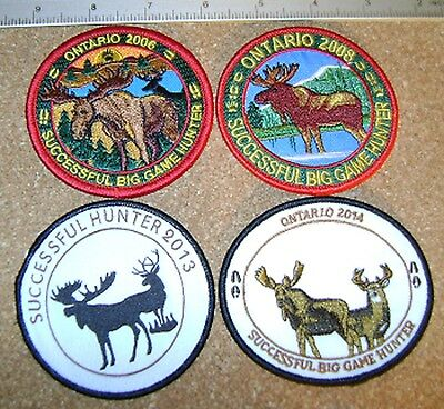 4 ONTARIO HATS FOR HIDES,BIG GAME HUNTER, HUNTING PATCHES moose,bear,elk,deer