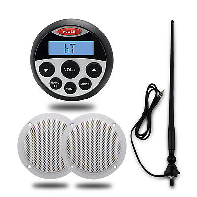 "Marine Stereo Waterproof Bluetooth Audio Player+4"" Boat Speaker System+Antenna"
