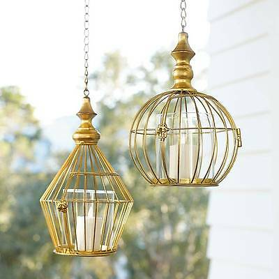 Gold Tone Metal Cage Style Hanging Candle Lantern Outdoor Lighting Decor 2 Style