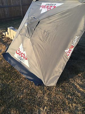 Coors Light patio umbrella with USB ports powered by solar panels - brand new!