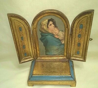 Musical Florentia Folding Tryptic Religious Icon Reuge Ave Maria Rare $29.99