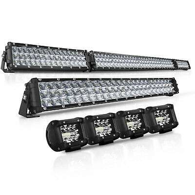 """7D+ 52Inch LED Light Bar Combo + 32"""" + 4"""" CREE PODS OFFROAD SUV 4WD FORD JEEP 22"""