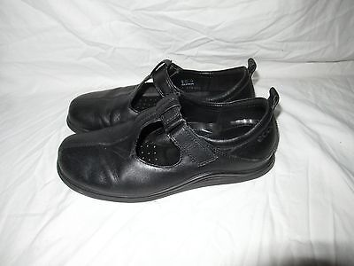 19f5239a0d47 Women s ECCO Black Leather Mary Jane s Sandals Euro 37 US 7 M Fast Shipping