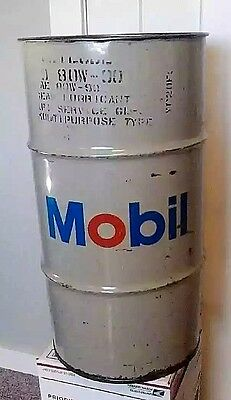 "Vintage Mobil Oil Can MOBILUBE 120 Pound Barrel Can 27"" x 14.5"" Gear Lubricant"