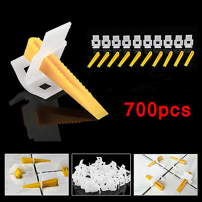 700 Tile Leveling Spacer Clips Kit 500 Clips + 200 Wedges Level Lippage Plastic