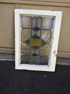 "NICE Vintage Antique Leaded Stained Glass Window 15"" x 20 3/4"""