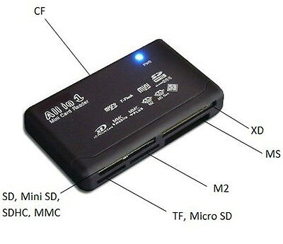 All in One Memory Card Reader USB External SD SDHC Mini Micro M2 MMC XD CF