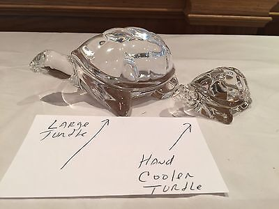 "Steuben Glass - Large Turtle Figurine 5-3/4"" (Much Bigger Than Hand Cooler)"