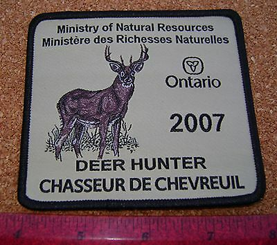 2007 ONTARIO MNR DEER HUNTING PATCH badge,flash,crest,moose,bear,elk,Canadian