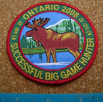 Ontario 2008 Successful Big Game Hunter Patch Moose,deer,bear,elk,hunting