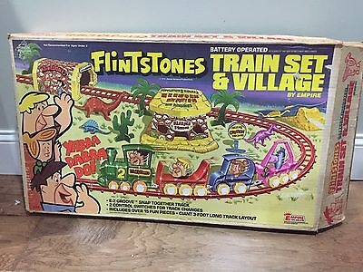 1978 Flintstones Train & Village By Empire Hanna Barbera With Box 99% Complete