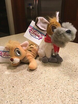 The Disney Store Oliver & Company Oliver And Dodger Mini Bean Bag Beanies 7""