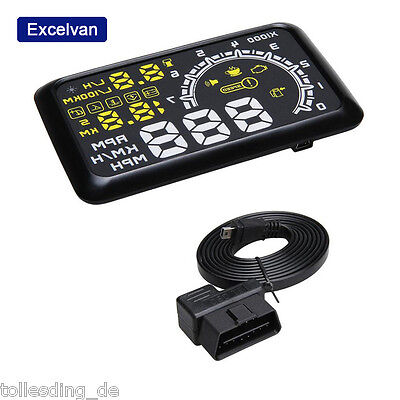 OBDII Car HUD Interface Fuel icon RPM Speed Warning Monitor Head Up LCD Display